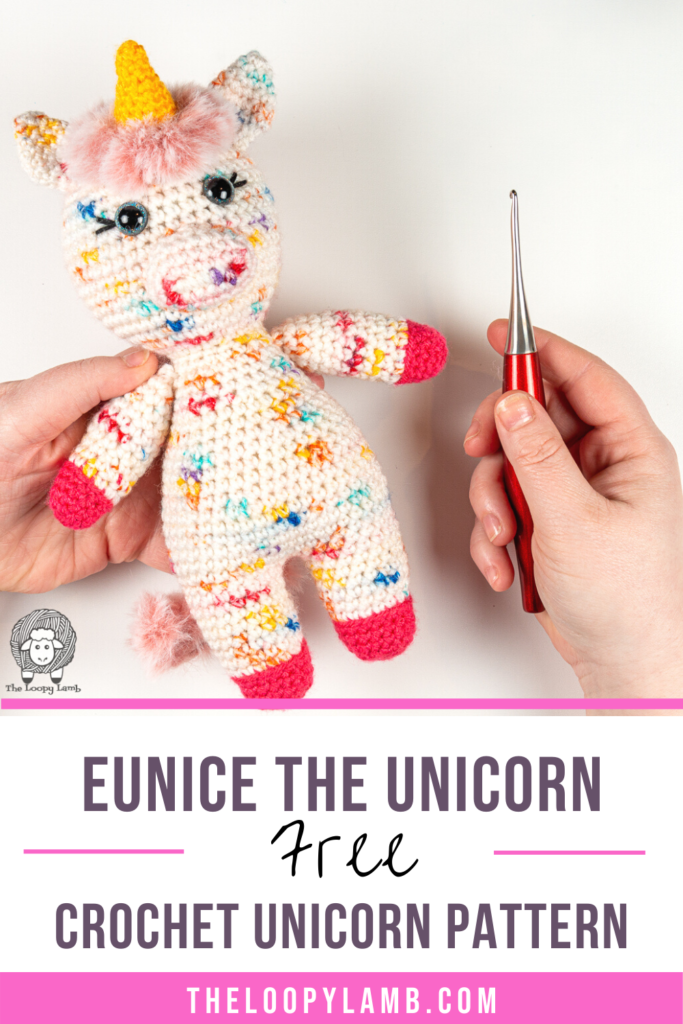 amigurumi unicorn made with speckle yarn with a text overlay indicating this is a free crochet unicorn pattern
