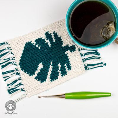 Monstera Leaf Crochet Mug Rug Pattern