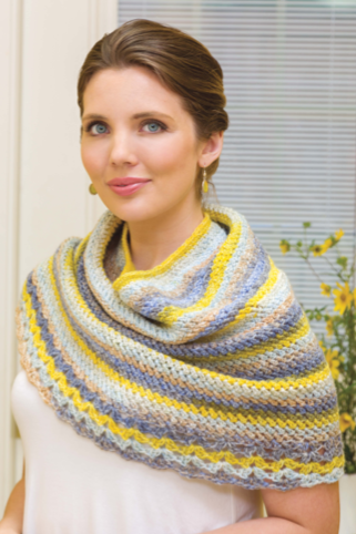 model wearing a crochet shrug