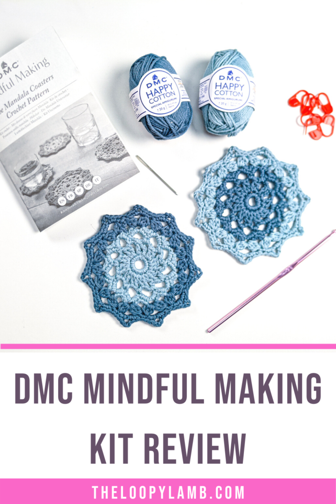 Contents of the DMC Mindful Making Kit Mandala Coasters in a flat lay, text indicating a review of the kit
