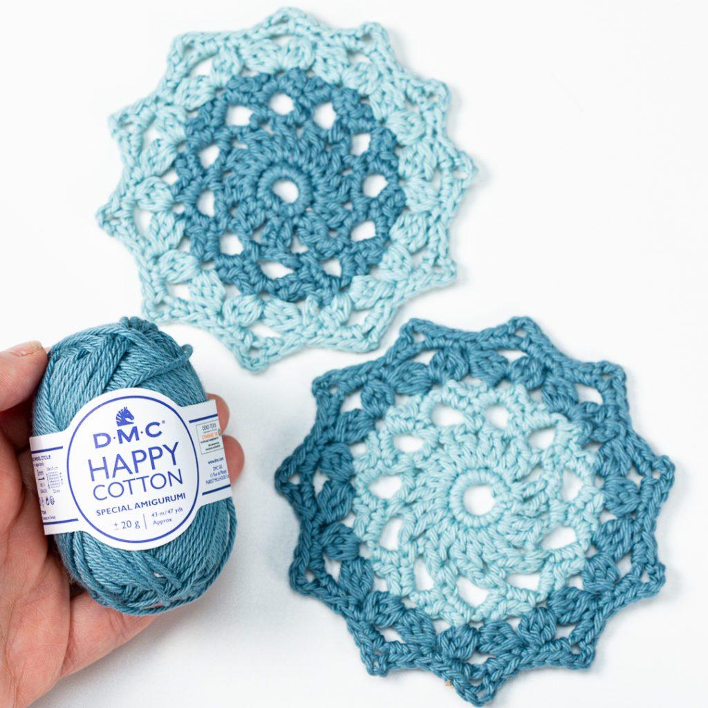 crochet mandala coasters made with DMC Happy Cotton