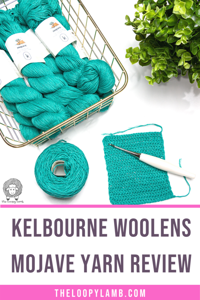 several hanks of Kelbourne Woolens Mojave in a flat lay with text indicating a Kelbourne Woolens Mojave yarn review