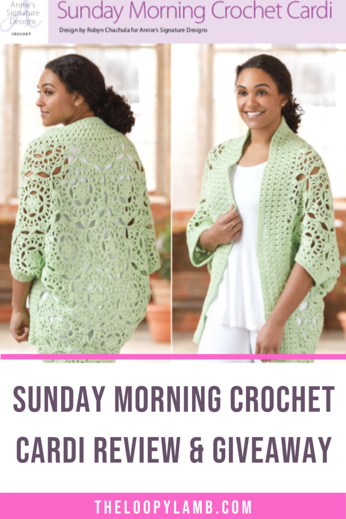Woman modelling the Sunday Morning Crochet Cardi and text indicating a review of the crochet pattern
