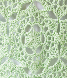 Close up image of the motif used to construct the crochet cardigan being reviewed
