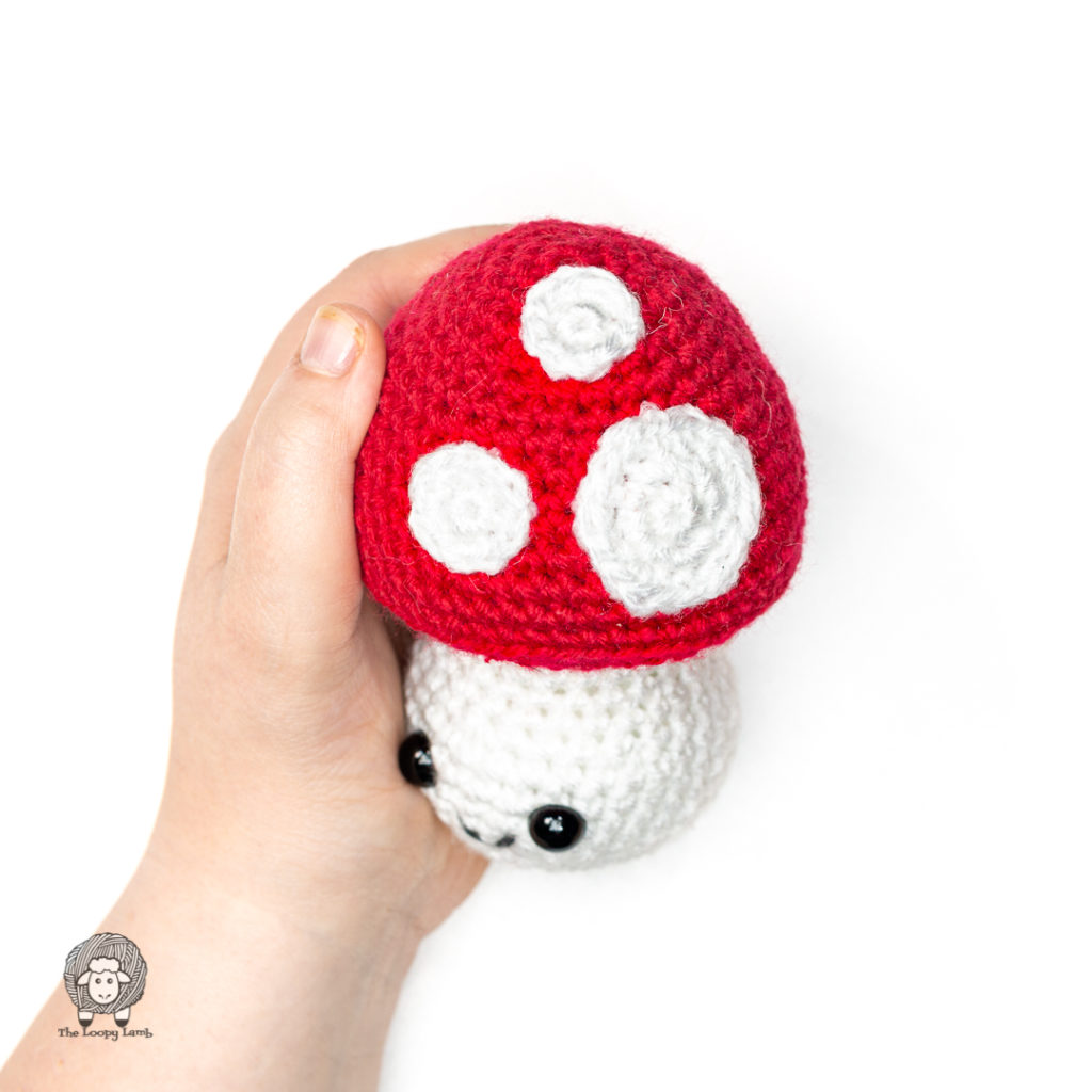 side-view of the product made with this free crochet mushroom pattern