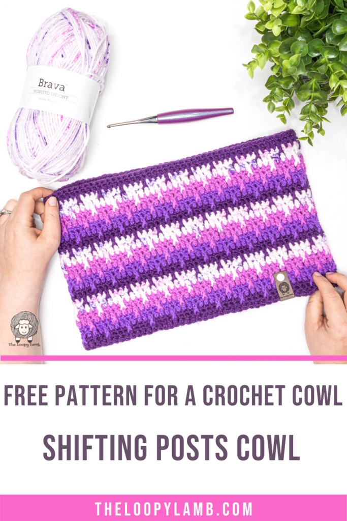 purple crochet cowl in a flat lay, text says free pattern for a crochet cowl - shifting posts cowl