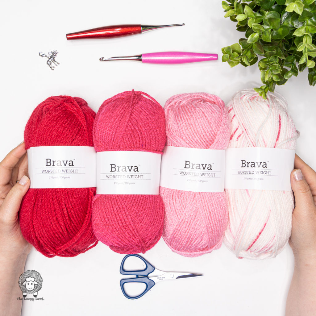 Brava Worsted Yarn in red and pink ombre palette.