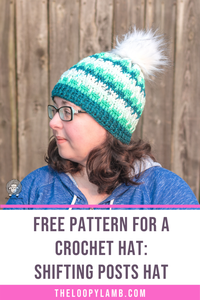 woman modelling the shifting posts hat, made with this free crochet pattern for a hat