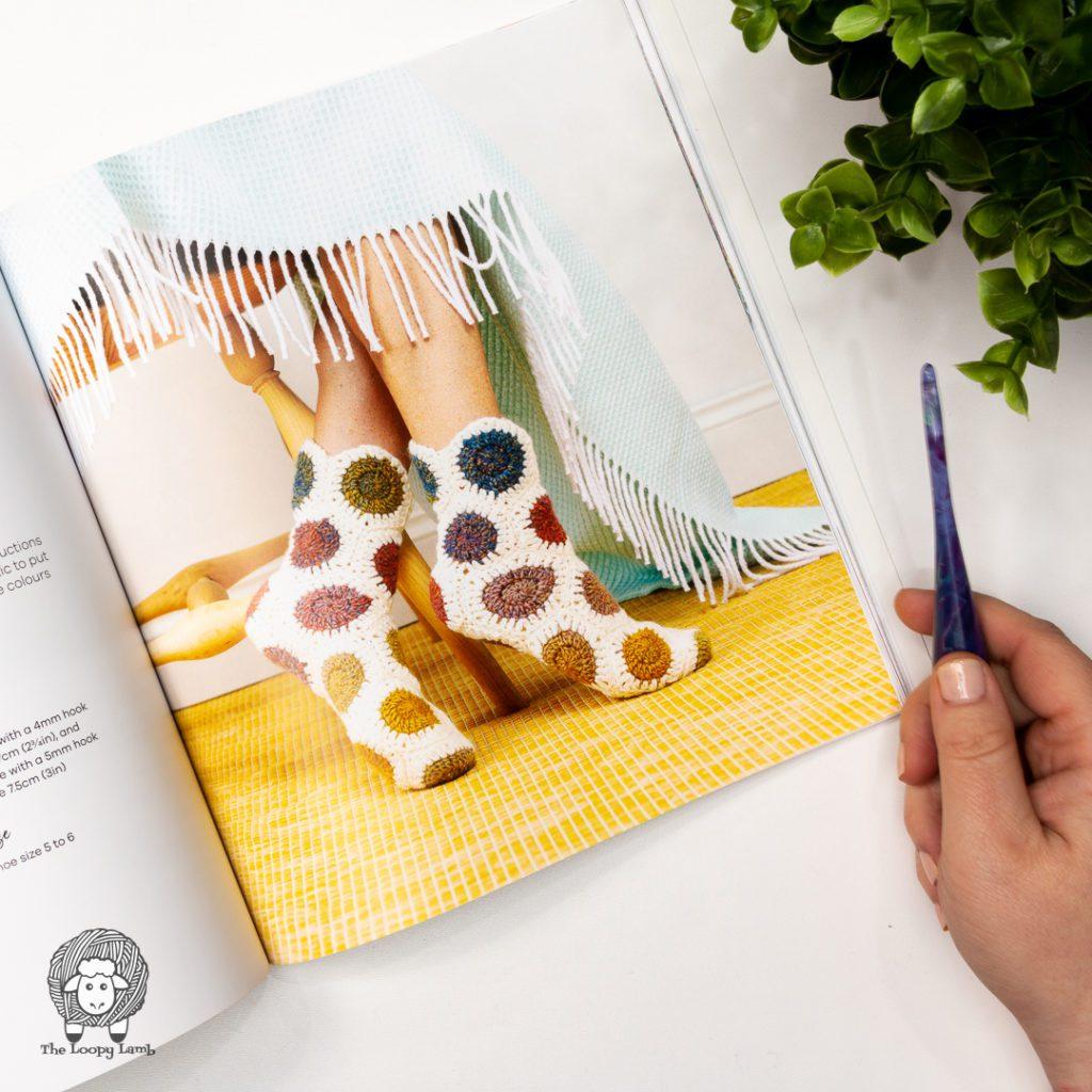 Crochet slipper socks made with Crochet hexagons from Hello Hexie
