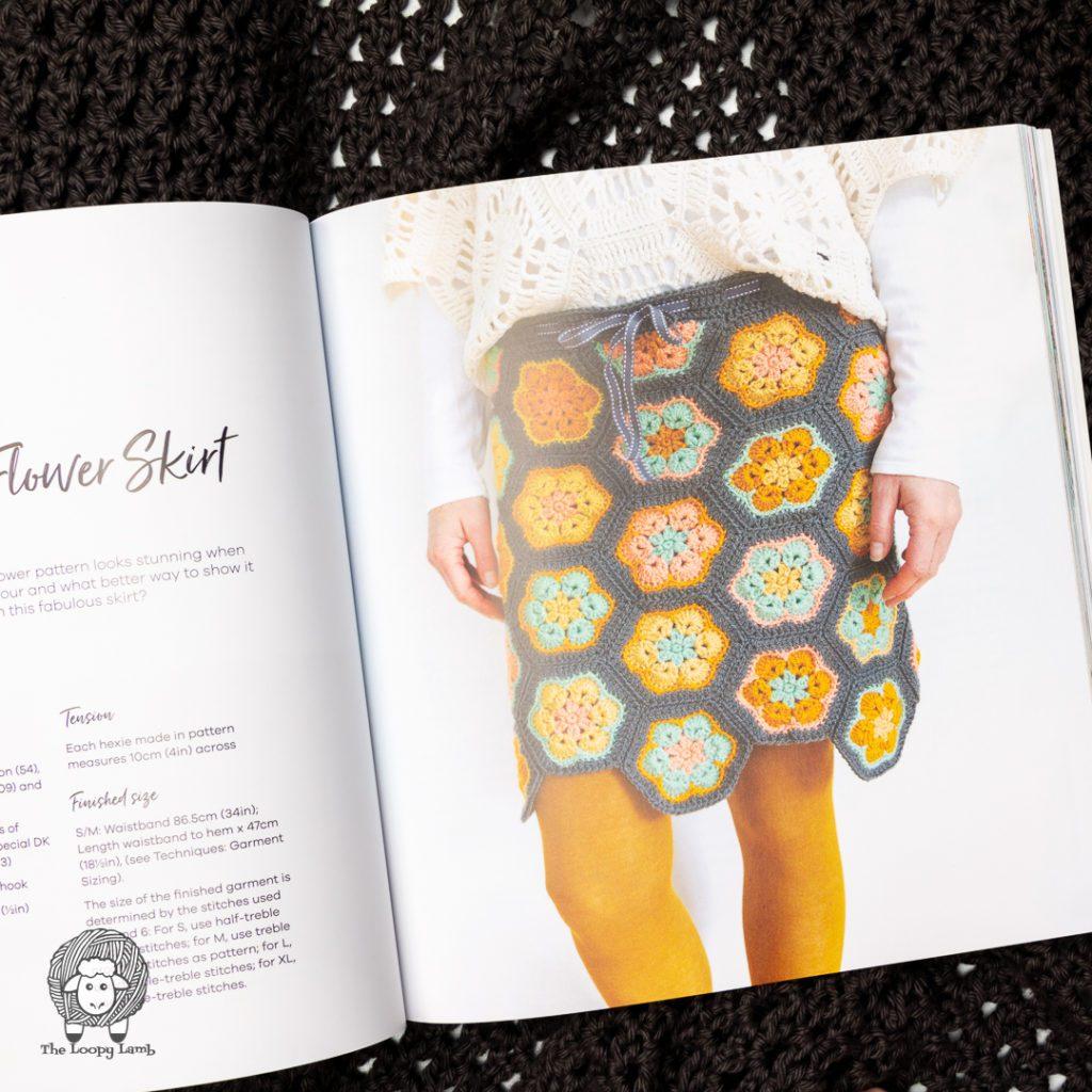 Crochet skirt made from crochet hexagon motifs