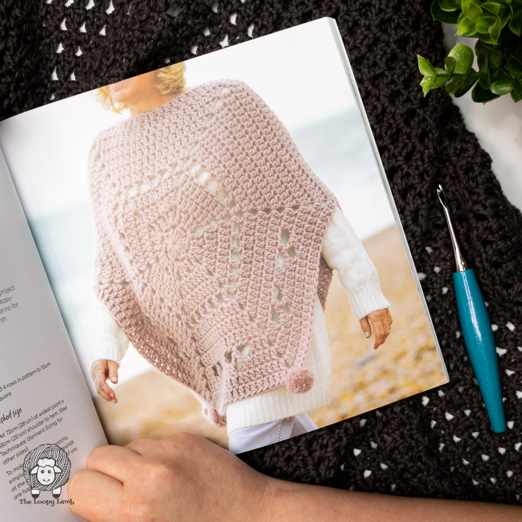 Crochet poncho made with with crochet hexagons from the book Hellow Hexie by Sarah Shrimpton