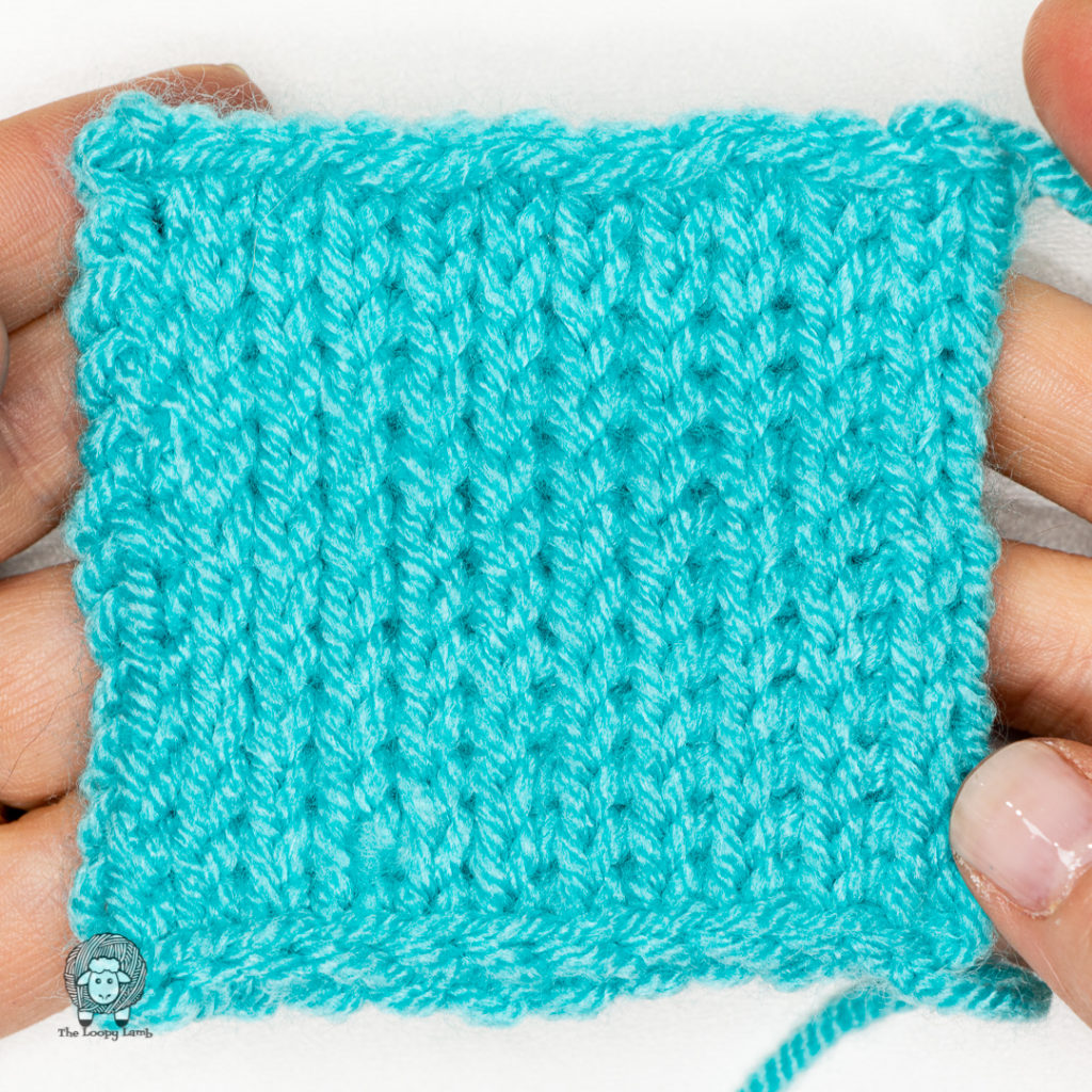 completed tunisian knit stitch swatch made with this tutorial