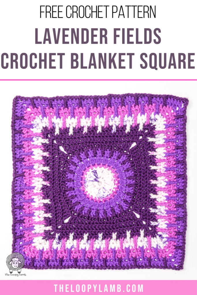 purple ombre crochet blanket square made with this free crochet pattern