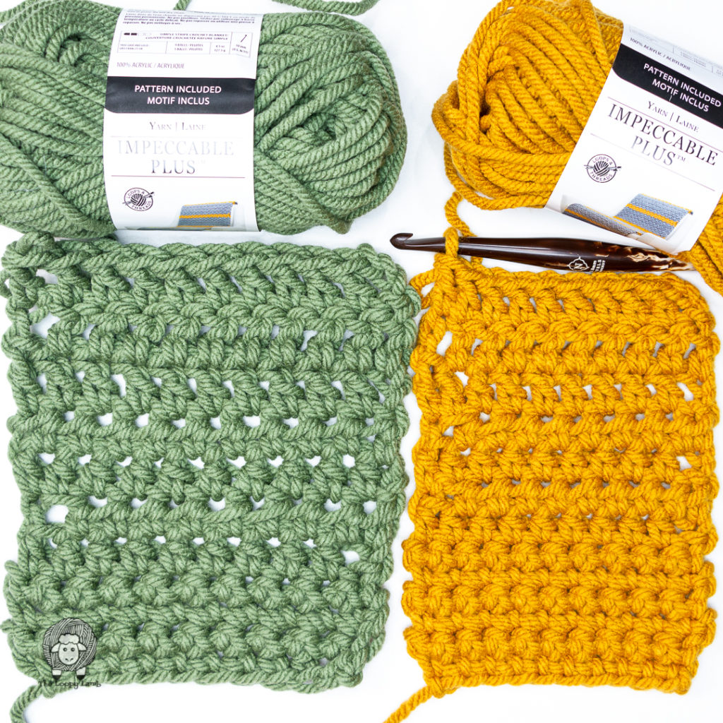 two crochet swatches made with loops & threads impeccable plus, side by side