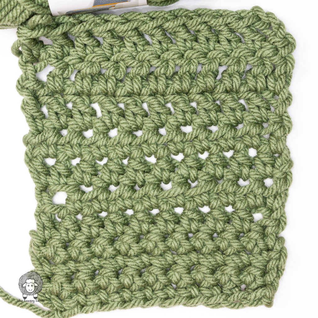 crochet swatch made in forest green loops & Threads impeccable plus