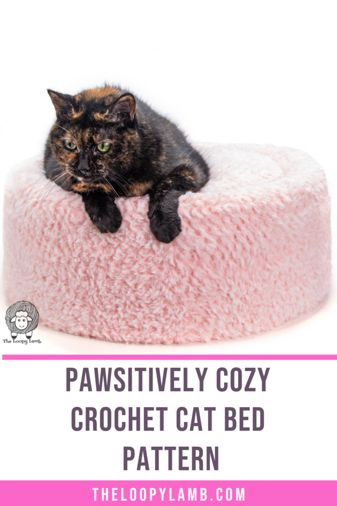 brown cat sitting on a furry crochet cat bed made with the Pawsitively Cozy Crochet Cat Bed Pattern