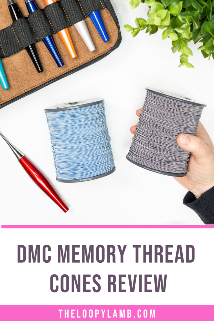 two dmc memory thread cones in a flat lay, text says dmb memory thread cones review
