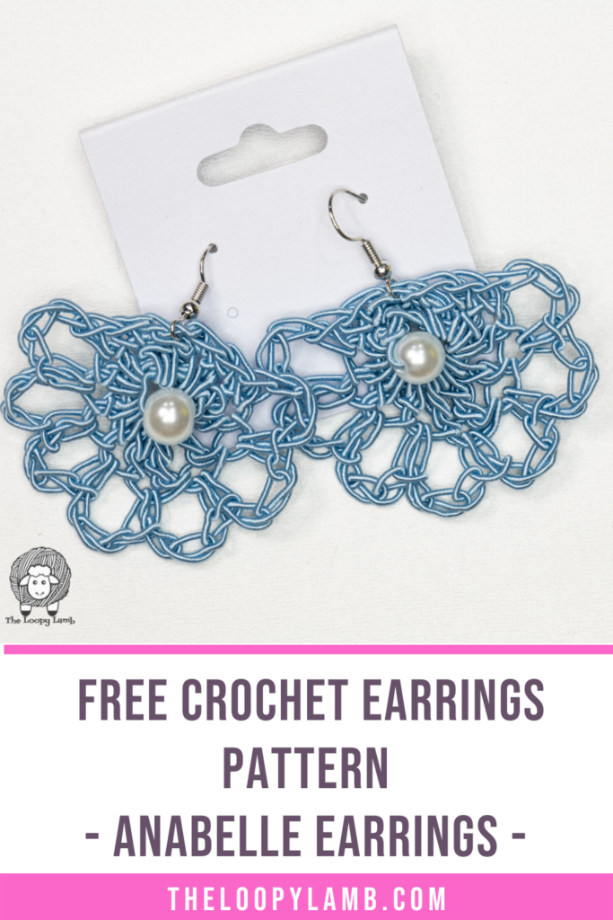 blue earrings crocheted with wire made with this free crochet earrings pattern