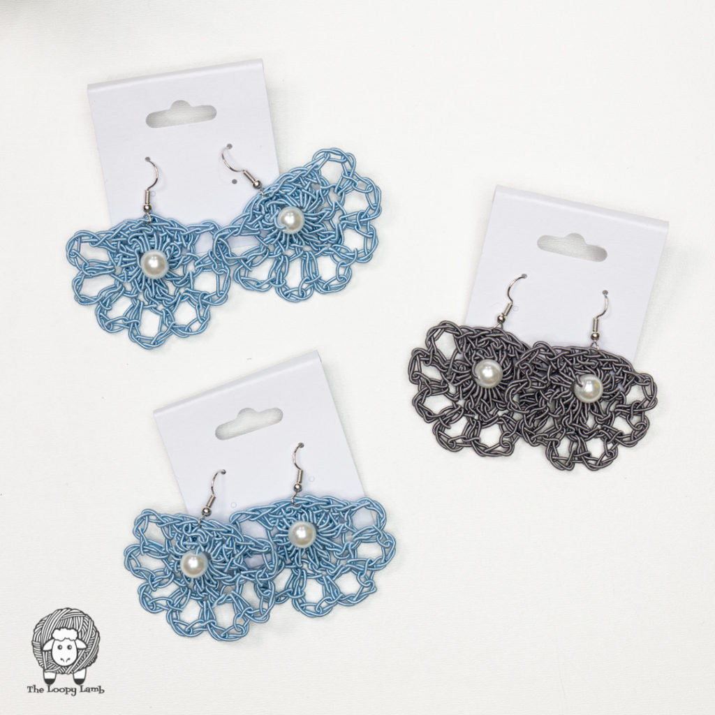 three pairs of earrings crocheted with wire