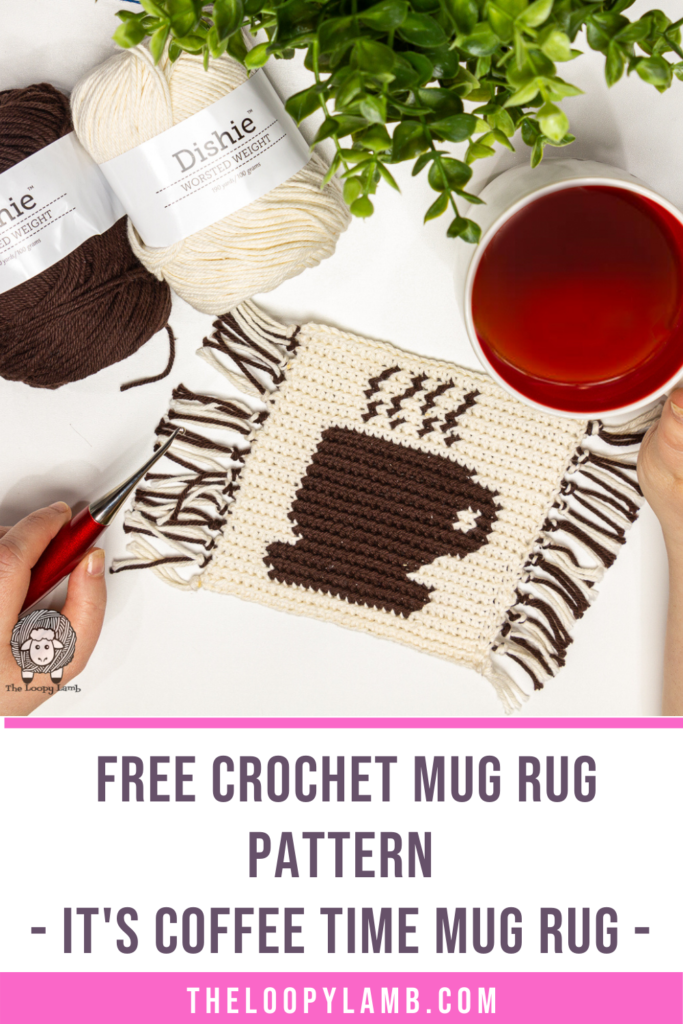 crochet coaster with coffee cup on it, text says free crochet mug rug pattern