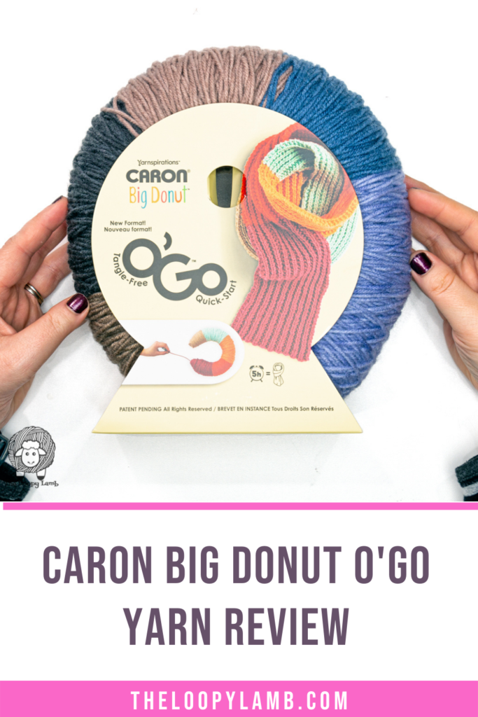 Caron Big Donut O'Go Yarn held in hands with text indicating a yarn review