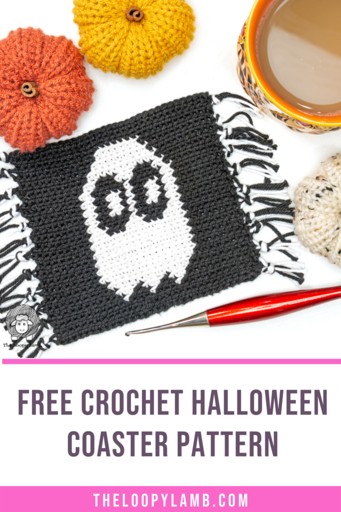 crochet coaster with a ghost on it with text underneath that says free crochet halloween coaster pattern