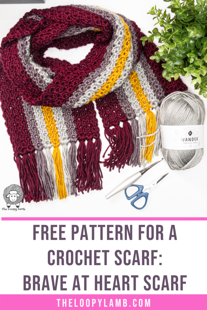 crochet scarf in a flat lay with text that says free pattern for a crochet scarf - the brave at heart scarf