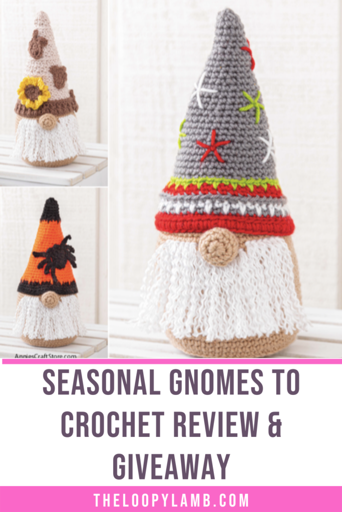 copy of the pattern Seasonal Gnomes to Crochet, text indicates a review and giveaway