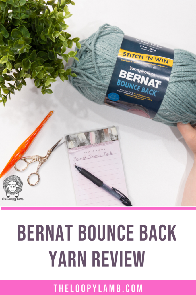 Bernat Bounce Back in a flat lay with text saying Bernat Bounce Back Yarn Review