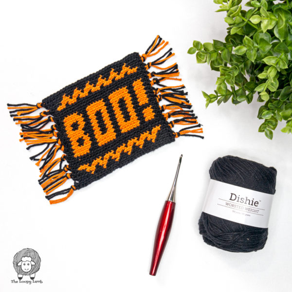 Boo! Crochet Halloween Mug Rug Pattern