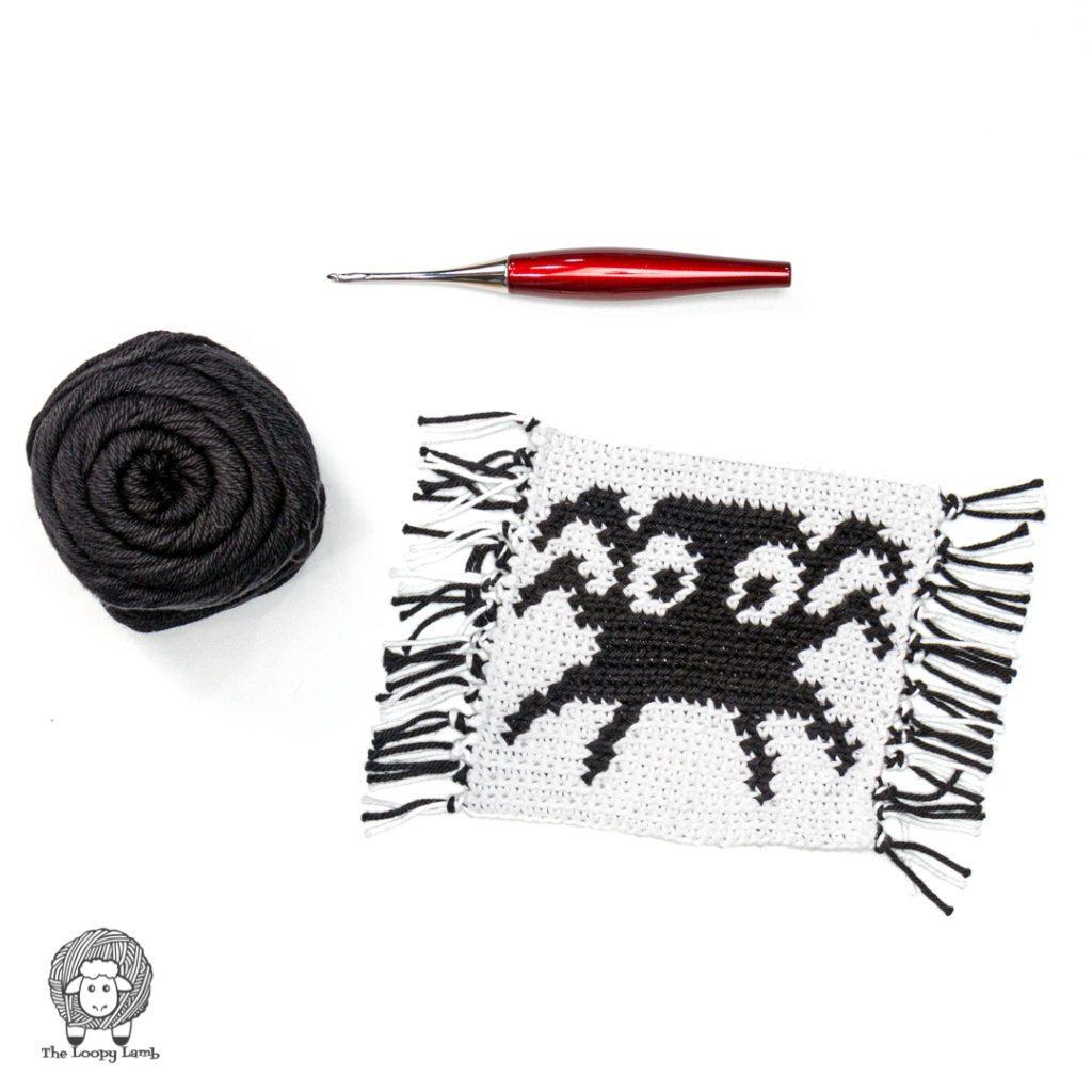 Spooky Spider Crochet Spider Mug Rug in a flat lay with furls crochet hook and black dishie yarn