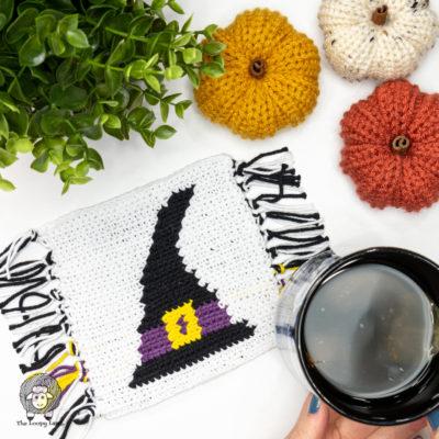 Crochet Witch Hat Mug Rug Free Pattern