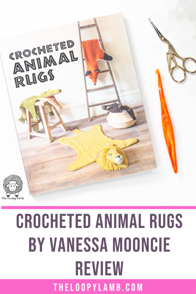 Crocheted Animal Rugs by Vanessa Mooncie in a flat lay with text indicating a book review