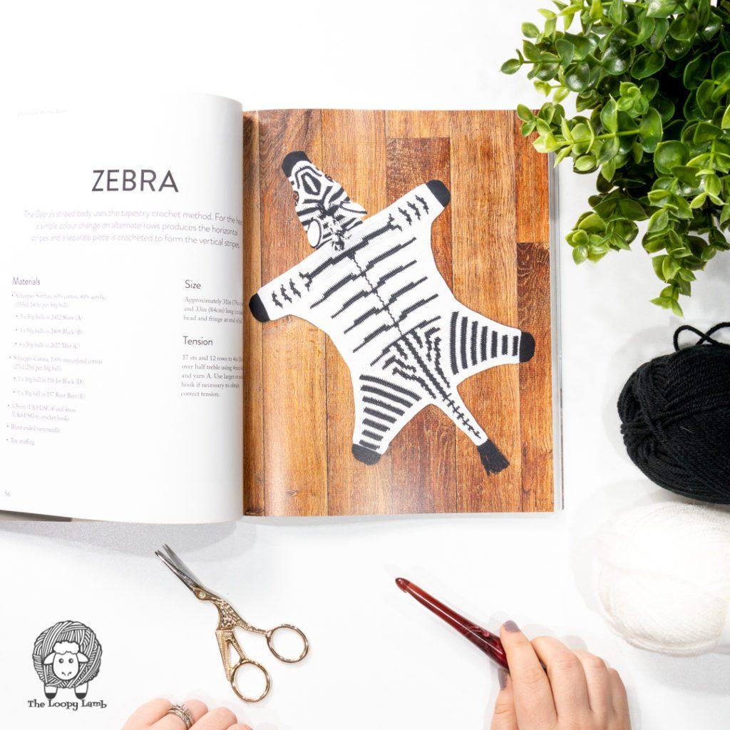 Zebra rug crochet sample found in Crocheted Animal Rugs by Vanessa Mooncie