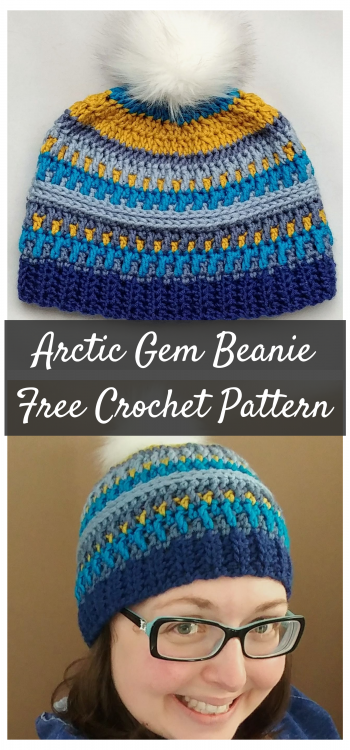 Image collage of a textured crochet hat made with a free crochet hat pattern called the Arctic Gem Beanie from Theloopylamb.com